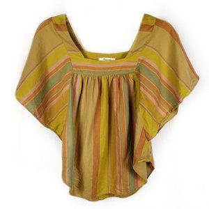 Madewell Striped Butterfly top XXS mustard retro